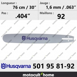 Guide de tronçonneuse Husqvarna 501958192 ( 5019581-92 / 501 95 81-92 ) 76 cm