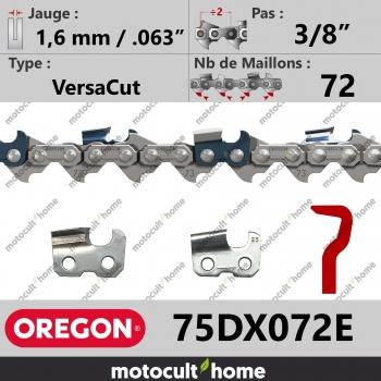 """Chaîne de tronçonneuse Oregon 75DX072E VersaCut 3/8"""" 1,6mm/.063andquot; 72 maillons-30"""