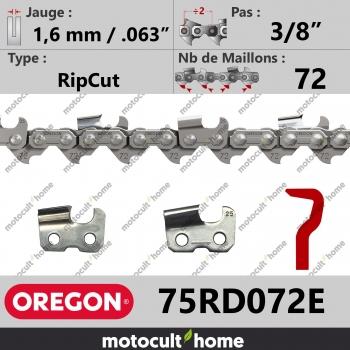 """Chaîne de tronçonneuse Oregon 75RD072E RipCut 3/8"""" 1,6mm/.063andquot; 72 maillons-30"""