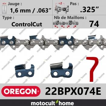 """Chaîne de tronçonneuse Oregon 22BPX074E ControlCut .325"""" 1,6mm/.063andquot; 74 maillons-30"""