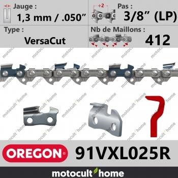 """Rouleau de Chaîne de tronçonneuse Oregon 91VXL025R VersaCut 3/8"""" (LP) 1,3mm/.050andquot; 412 maillons-30"""