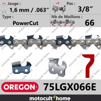 """Chaîne de tronçonneuse Oregon 75LGX066E PowerCut 3/8"""" 1,6mm/.063andquot; 66 maillons-30"""