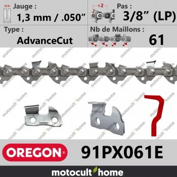 """Chaîne de tronçonneuse Oregon 91PX061E AdvanceCut 3/8"""" (LP) 1,3mm/.050andquot; 61 maillons-30"""