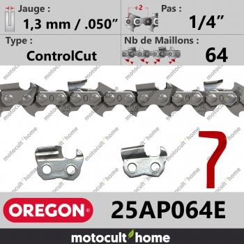 """Chaîne de tronçonneuse Oregon 25AP064E ControlCut 1/4"""" 1,3mm/.050andquot; 64 maillons-30"""