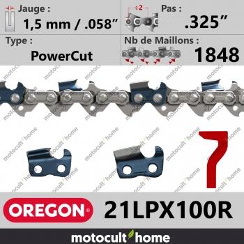 """Chaîne de tronçonneuse Oregon 21LPX100R PowerCut .325"""" 1,5mm/.058andquot; 1848 maillons-30"""