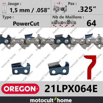"""Chaîne de tronçonneuse Oregon 21LPX064E PowerCut .325"""" 1,5mm/.058andquot; 64 maillons-30"""