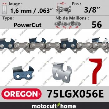 """Chaîne de tronçonneuse Oregon 75LGX056E PowerCut 3/8"""" 1,6mm/.063andquot; 56 maillons-30"""