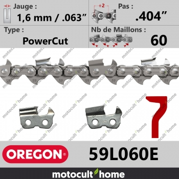 "Chaîne de tronçonneuse Oregon 59L060E PowerCut .404"" 1,6mm/.063andquot; 60 maillons-30"