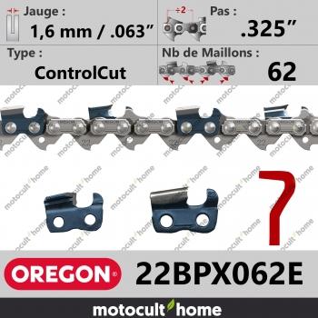 """Chaîne de tronçonneuse Oregon 22BPX062E ControlCut .325"""" 1,6mm/.063andquot; 62 maillons-30"""