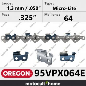"""Chaîne de tronçonneuse Oregon 95VPX064E Micro-Lite .325"""" 1,3mm/.050andquot; 64 maillons-30"""