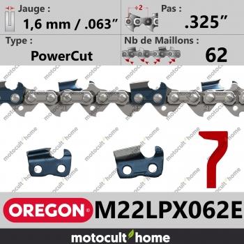 """Chaîne de tronçonneuse Oregon M22LPX062E DuraCut .325"""" 1,6mm/.063andquot; 62 maillons-30"""