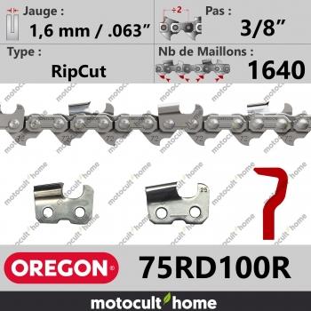 """Rouleau de Chaîne de tronçonneuse Oregon 75RD100R RipCut 3/8"""" 1,6mm/.063andquot; 1640 maillons-30"""