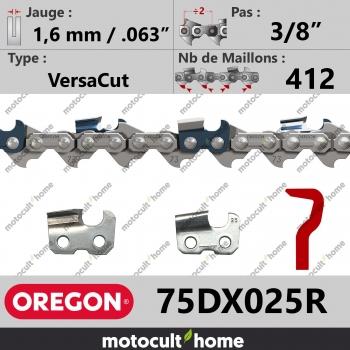 """Rouleau de Chaîne de tronçonneuse Oregon 75DX025R VersaCut 3/8"""" 1,6mm/.063andquot; 412 maillons-30"""