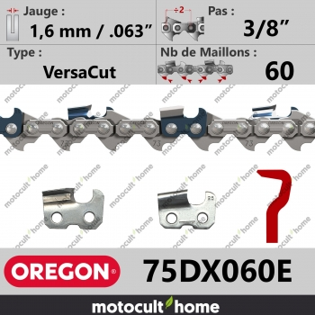 """Chaîne de tronçonneuse Oregon 75DX060E 3/8"""" 1,6mm/.063andquot; 60 maillons-30"""