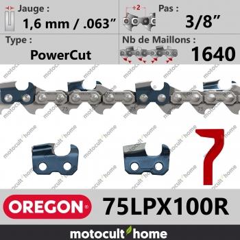 """Rouleau de Chaîne de tronçonneuse Oregon 75LPX100R PowerCut 3/8"""" 1,6mm/.063andquot; 1640 maillons-30"""