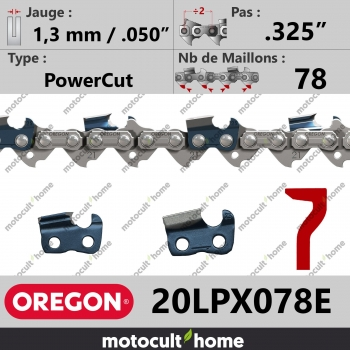 """Chaîne de tronçonneuse Oregon 20LPX078E PowerCut .325"""" 1,3mm/.050andquot; 78 maillons-30"""