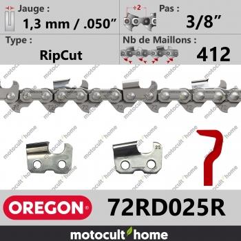 """Rouleau de Chaîne de tronçonneuse Oregon 72RD025R RipCut 3/8"""" 1,3mm/.050andquot; 412 maillons-30"""