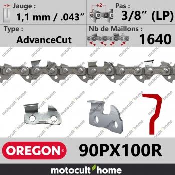 """Chaîne de tronçonneuse Oregon 90PX100R AdvanceCut 3/8"""" (LP) 1,1mm/.043andquot; 1640 maillons-30"""