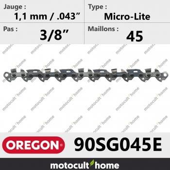 """Chaîne de tronçonneuse Oregon 90SG045E Micro-Lite 3/8"""" 1,1mm/.043andquot; 45 maillons-30"""