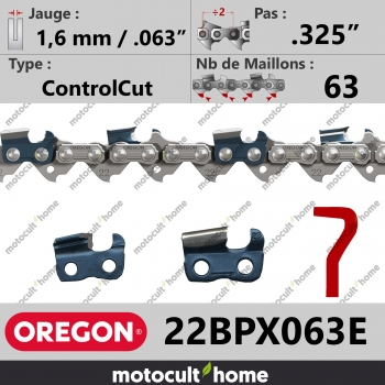 """Chaîne de tronçonneuse Oregon 22BPX063E ControlCut .325"""" 1,6mm/.063andquot; 63 maillons-30"""