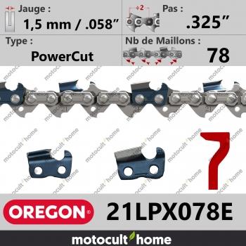 """Chaîne de tronçonneuse Oregon 21LPX078E PowerCut .325"""" 1,5mm/.058andquot; 78 maillons-30"""