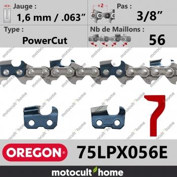"""Chaîne de tronçonneuse Oregon 75LPX056E PowerCut 3/8"""" 1,6mm/.063andquot; 56 maillons-30"""