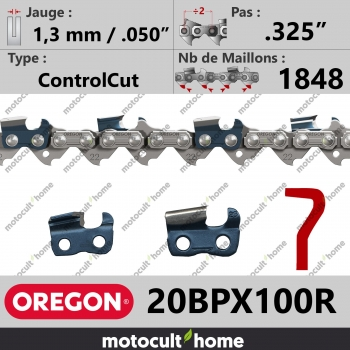 """Rouleau de chaîne de tronçonneuse Oregon 20BPX100R ControlCut .325"""" 1,3mm/.050andquot; 1848 maillons-30"""