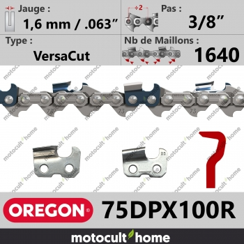 """Rouleau de Chaîne de tronçonneuse Oregon 75DPX100R VersaCut 3/8"""" 1,6mm/.063andquot; 1640 maillons-30"""