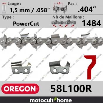 """Rouleau de Chaîne de tronçonneuse Oregon 58L100R PowerCut .404"""" 1,5mm/.058andquot; 1484 maillons-30"""