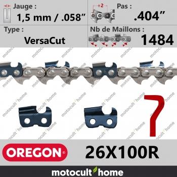 """Rouleau de Chaîne de tronçonneuse Oregon 26X100R VersaCut .404"""" 1,5mm/.058andquot; 1484 maillons-30"""