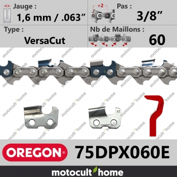 """Chaîne de tronçonneuse Oregon 75DPX060E VersaCut 3/8"""" 1,6mm/.063andquot; 60 maillons-30"""