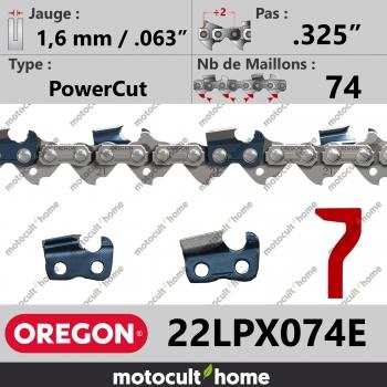 """Chaîne de tronçonneuse Oregon 22LPX074E .325"""" 1,6mm/.063andquot; 74 maillons-30"""