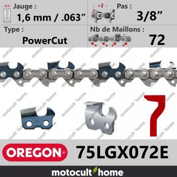 """Chaîne de tronçonneuse Oregon 75LGX072E PowerCut 3/8"""" 1,6mm/.063andquot; 72 maillons-30"""