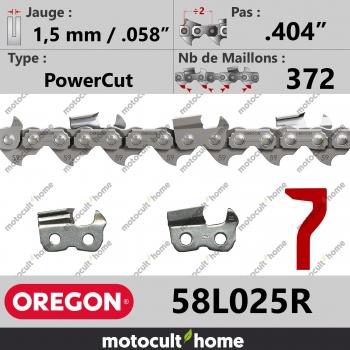 """Rouleau de Chaîne de tronçonneuse Oregon 58L025R PowerCut .404"""" 1,5mm/.058andquot; 372 maillons-30"""