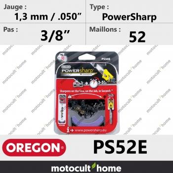 """Chaîne de tronçonneuse Oregon PS52E PowerSharp 3/8"""" 1,3mm/.050andquot; 52 maillons-30"""