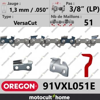 """Chaîne de tronçonneuse Oregon 91VXL051E VersaCut 3/8"""" (LP) 1,3mm/.050andquot; 51 maillons-30"""