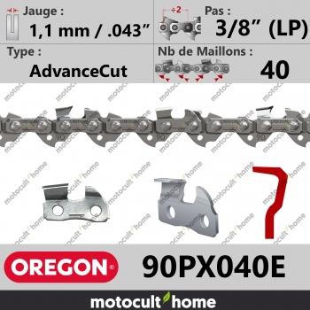 """Chaîne de tronçonneuse Oregon 90PX040E AdvanceCut 3/8"""" (LP) 1,1mm/.043andquot; 40 maillons-30"""