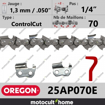 """Chaîne de tronçonneuse Oregon 25AP070E ControlCut 1/4"""" 1,3mm/.050andquot; 70 maillons-30"""