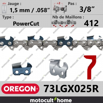 """Rouleau de Chaîne de tronçonneuse Oregon 73LGX025R 3/8"""" 1,5mm/.058andquot; 412 maillons-30"""