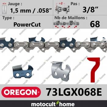 """Chaîne de tronçonneuse Oregon 73LGX068E 3/8"""" 1,5mm/.058andquot; 68 maillons-30"""
