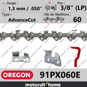 """Chaîne de tronçonneuse Oregon 91PX060E AdvanceCut 3/8"""" (LP) 1,3mm/.050andquot; 60 maillons-30"""