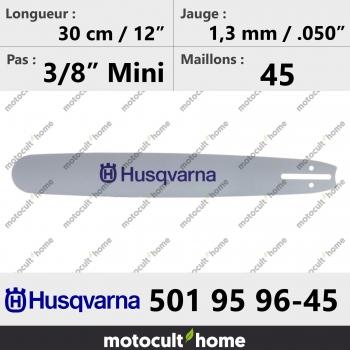 Guide de tronçonneuse Husqvarna 501959645 ( 5019596-45 / 501 95 96-45 ) 30 cm-30