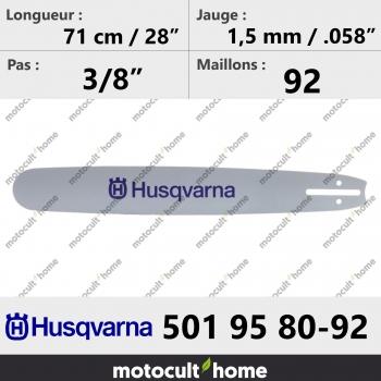 Guide de tronçonneuse Husqvarna 501958092 ( 5019580-92 / 501 95 80-92 ) 72 cm-30