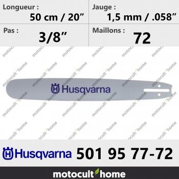 Guide de tronçonneuse Husqvarna 501957772 ( 5019577-72 / 501 95 77-72 ) 50 cm-30