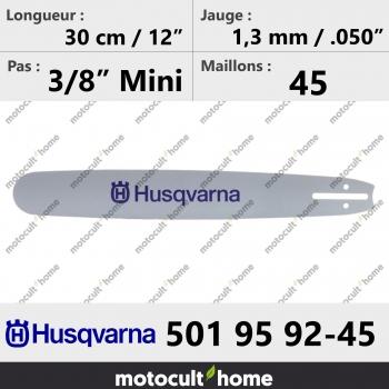 Guide de tronçonneuse Husqvarna 501959245 ( 5019592-45 / 501 95 92-45 ) 30 cm-30