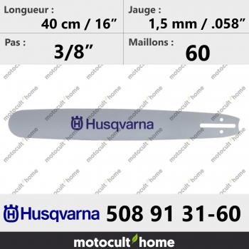 Guide de tronçonneuse Husqvarna 508913160 ( 5089131-60 / 508 91 31-60 ) 40 cm-30