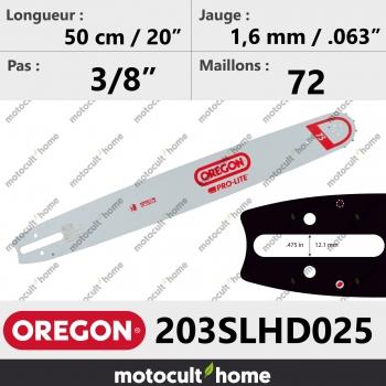 Guide de tronçonneuse Oregon 203SLHD025 Pro-Lite 50 cm-30