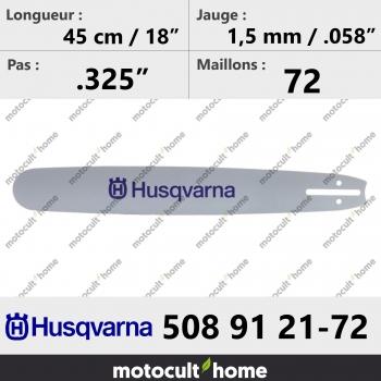 Guide de tronçonneuse Husqvarna 508912172 ( 5089121-72 / 508 91 21-72 ) 45 cm-30