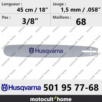 Guide de tronçonneuse Husqvarna 501957768 ( 5019577-68 / 501 95 77-68 ) 45 cm-30
