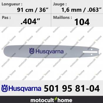Guide de tronçonneuse Husqvarna 501958104 ( 5019581-04 / 501 95 81-04 ) 90 cm-30
